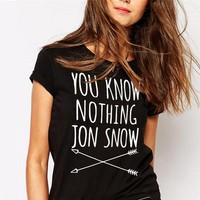You Know Nothing Jon Snow Printed T shirt 2017