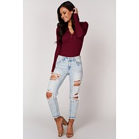 Living Edgy Button Up Bodysuit (Burgundy)