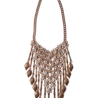 Q2 Collar Necklace With Drop Chains And Feather Detail