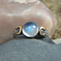 READY to SHIP - Size 6.25 - Triple Moon with 14k Cresent Moons - Choose your 8mm Stone - Set in Sterling Silver - 10 stone choices