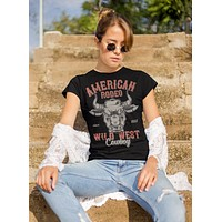 Women's Vintage Rodeo T Shirt American Rodeo Cowboy Shirts Wild West Bull Graphic Tee Western TShirt Vintage Shirt