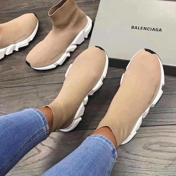Image of Balenciaga hot sale knitted high socks shoes men and women casual sports shoes