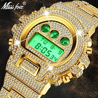 MISSFOX Multi-function G Style Shock Digital Mens Watches Top Luxury Brand LED 18K Gold Watch Men Hip Hop Male Iced Out Watches