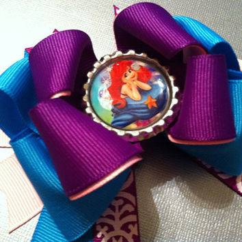 SALE Ariel the little mermaid inspired mini stacked bow