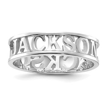 14K White Gold Polished Personalized Name Ring
