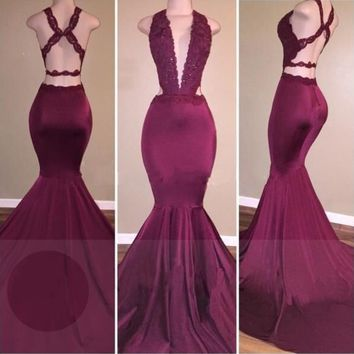 Mermaid V Neck Applique Burgundy Prom Dresses