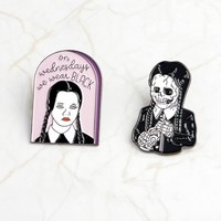 Adams Family Brooch Adams Girls Wednesday We Wear Black Skeleton Skeleton Girl Black Gothic Badge Pin Friend Punk Fun Gift