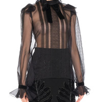 Andrew Gn Silk Organza Long-Sleeve Lace-Trim Blouse and Matching Items