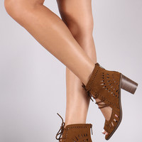 Breckelle Geo Cutout Suede Lace Up Chunky Mule Heel