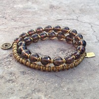 Positivity, Genuine Smoky Quartz Gemstone 27 Bead Wrap Mala Bracelet