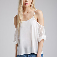 Off-The-Shoulder Lace-Sleeved Top