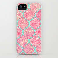 Moroccan Floral Lattice Arrangement in Pinks iPhone & iPod Case by Micklyn | Society6