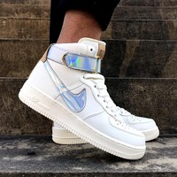 "NIKE AirForce 1 High ""Nai Ke""THE BUND  Jester  Men's and women's sneakers in high and middle class"
