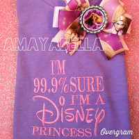 Sale READY TO SHIP 99.9% sure I'm a Disney princess rapunzel tangled inspired tee and bow girls size xsm 5