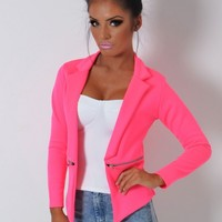 Atlas Neon Pink Fitted Zip Blazer Jacket | Pink Boutique