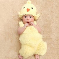 born Photography Props Infant Kids Lovely Chicken Hat Suspenders Bird Shaped Baby Photography born Baby Caps