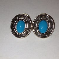 Sleeping Beauty Turquoise Earrings Out West Sterling Silver 925 Vintage Tribal Southwestern Jewelry Holiday Christmas Gift