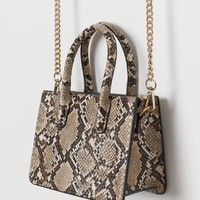 Mini Handbag - Lt. beige/snakeskin patterned - Ladies | H&M US