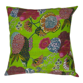 "24"" Yellow Indian Floral Kantha Throw Pillow For Sofa & Couch"