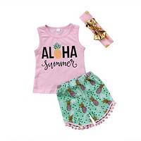 Kids Baby Girl Toddler Summer Clothing Set Top T-shirt Vest Sleeveless Shorts Headbands 3pcs Clothes Outfits Clothes Set 1-6T