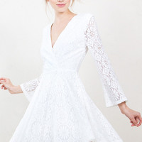 Sugarlips Daisy Lace Long Sleeve White Romantic Dress