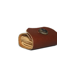 Tiny Brown Leather Journal with Vintage Button