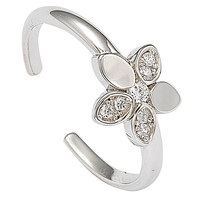 925 Sterling Silver CZ Flower Toe Ring