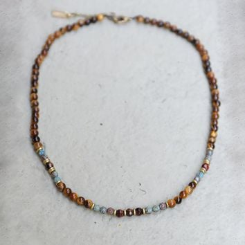 Tiger's Eye and Agate Delicate Necklace