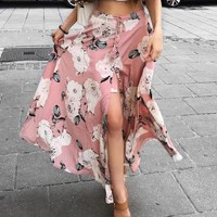 """The Prettiest Pink"" Floral Maxi Skirt"