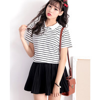 White Striped Short Sleeve Polo Shirt with Black Skirt