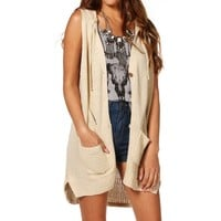 Sale-sleeveless Hooded Cardigan