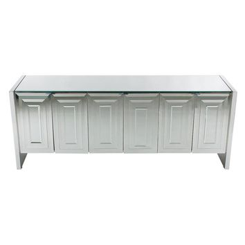 Hollywood Regency Modern Mirrored Art Deco Credenza or Cabinet by Ello Furniture
