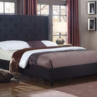 """New Century® Black Upholstered 51"""" Inches Tall Headboard Platform Bed"""