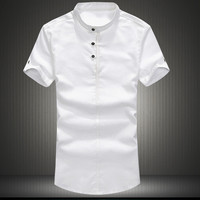 Mens Casual Uncollared Dress Shirt