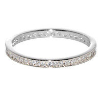 Sterling Silver Eternity Womens Ring Cubic Zirconia 2mm wide Clear CZ Rhodium