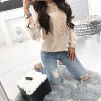 Women's Lace Long Sleeve Tops T Shirt OL Ladies Casual Soild Blouse Pullover USA