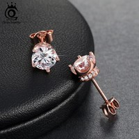 ORSA JEWELS Trendy Earring Stud with 0.8 ct 9 Colors Female Zircon AAA Cubic Zirconia Earring For Women On Party OE122
