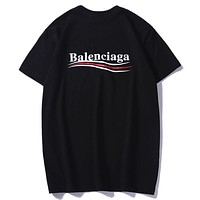 Balenciaga Tide brand classic wave cola letter round neck short-sleeved T-shirt Black