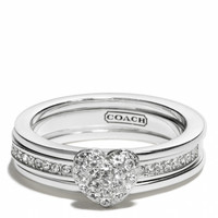 sterling pave heart convertible ring