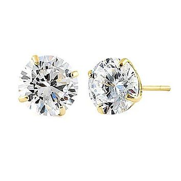 14K Yellow Gold Round Brilliant Cut Belgium Lab Stud Earrings