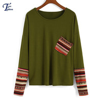 Vogue High Street Brand Tees Autumn Latest Female New Arrival Autumn Casual Green Contrast Sleeve Round Neck Pocket T-shirt