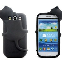 Black Lovely Kiki Cat Silicone Case Cover for Samsung Galaxy S3 I9300
