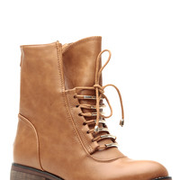 Tan Faux Leather Gold Accent Lace Up Ankle Boots