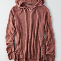 AEO Side-Lace Hoodie Sweater, Mauve