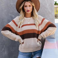 New casual loose stitching sweater shirt top round neck color long sleeve sweater female