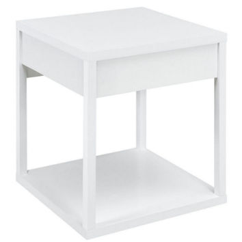 End Table with Drawer Living Room Furniture Contemporary Nightstand White