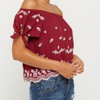 Burgundy Embroidered Daisy Scalloped Off Shoulder Shirt | Cold Shoulder | rue21