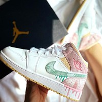 NIKE Air jordan 1 AJ1 men's and women's stitching color high-top basketball shoes sneakers