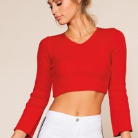 Thea Crop Sweater - Red