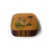 Vintage mid century small hand painted chinese bamboo trinket box